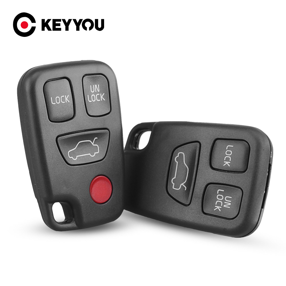 KEYYOU Replacement Car Key Shell Case For Volvo S40 S60 S70 S80 S90 V40 V70 98-05 3/4 Buttons Key Casing Blank Cover
