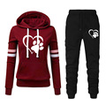 2021 Autumn and Winter New Drawstring Printing Hoodie Sportswear + Pants Casual Wear Suit Outdoor Jogging Fitness Suit 2 Sets