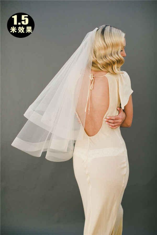 2020 neue Eine schicht weiß fingertip Braut schleier Kurze braut hochzeit schleier ohne kamm