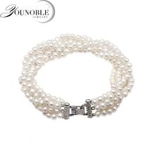 Beautiful Real Freshwater Pearl Necklace Women,fashion Multi Layer Strand Female Anniversary Gift
