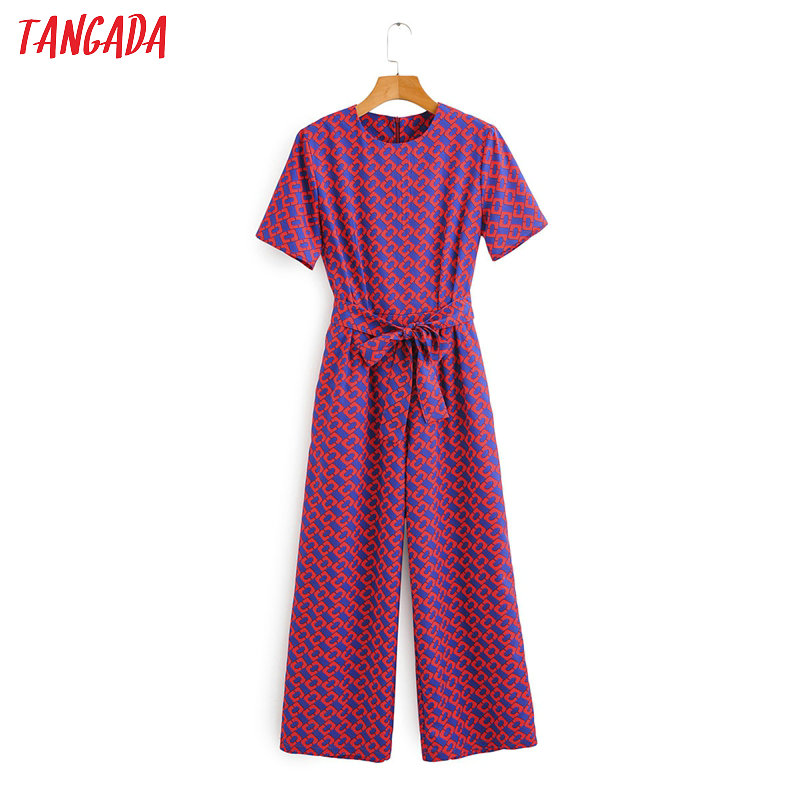 Tangada Women Summer Chain Print Long Jumpsuit Short Sleeve Pocket O Neck Female Casual Jumpsuit 1F71