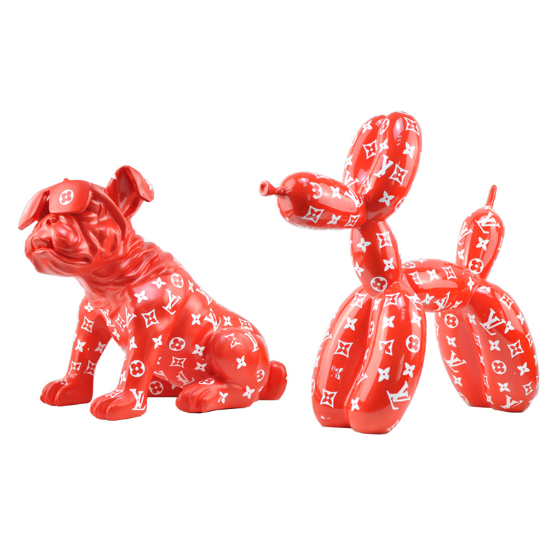 Pattern Design Balloon Dog Jeff Koons Special Statue Modern Sculpture Home Decoration Bulldog Toy Resin Art Ornament on AliExpress