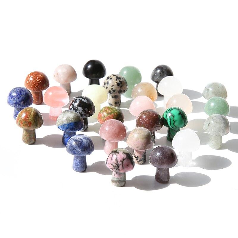 10 шт. мини натуральный розовый кварц, все виды драгоценных камней, резьба, хрустальные грибы для украшения дома