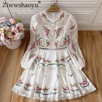 Ziwwshaoyu 100% linen Embroidery dresses O Neck Floral Hollow Out Puff Sleeve Vacation Mini dress Autumn new women