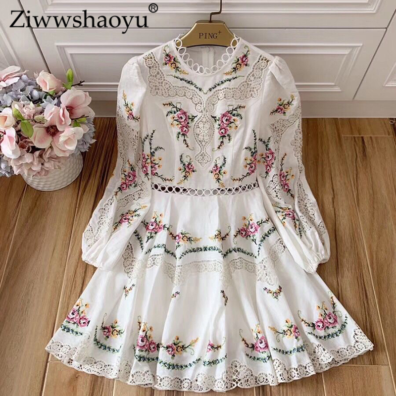 Ziwwshaoyu 100% Linen Embroidery Dresses O-Neck Floral Hollow Out Puff Sleeve Vacation Mini Dress Autumn New Women