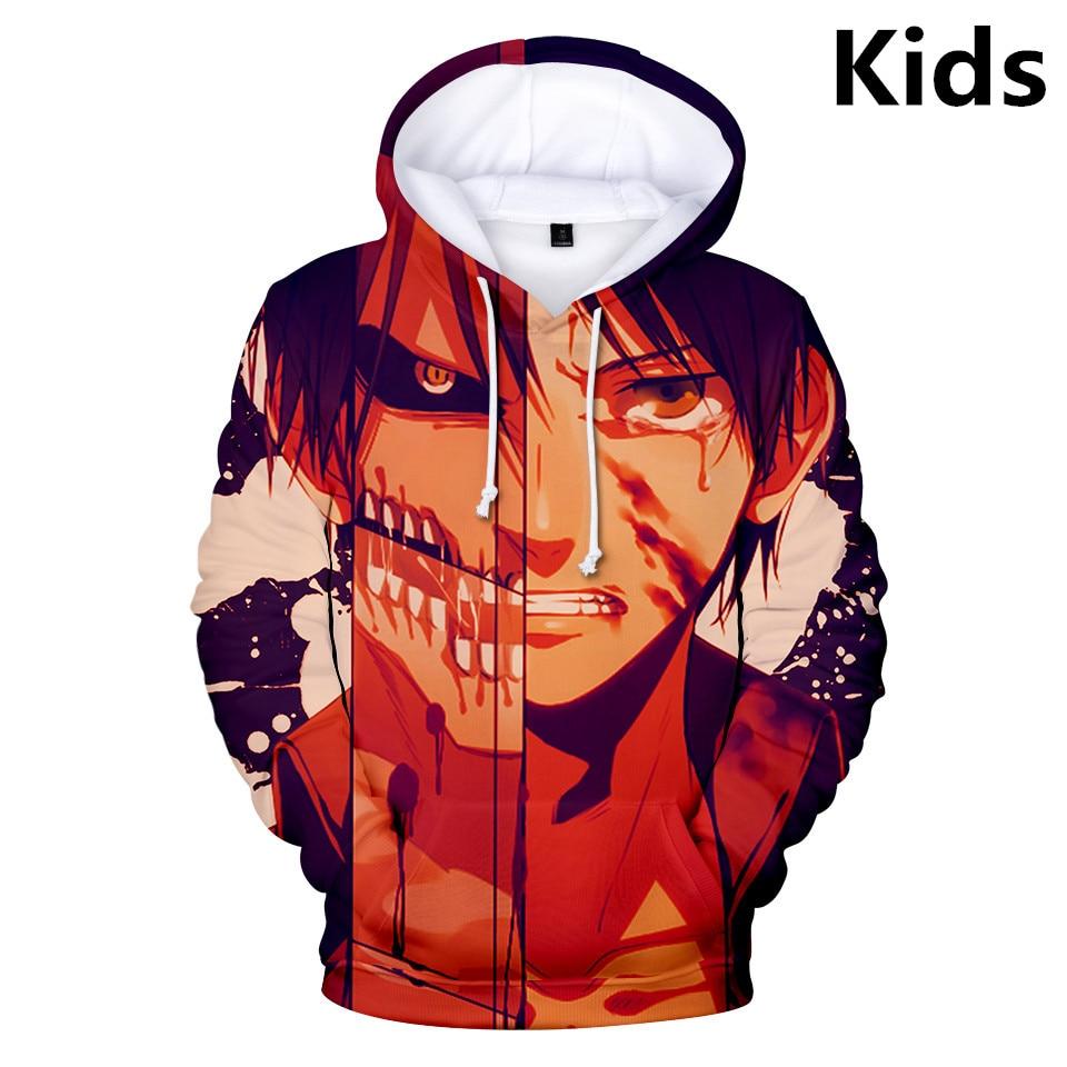 2 To 13 Years Kids Hoodies 3D Attack On Titan Hoodie Sweatshirt Boys Girls Harajuku Long Sleeve Jacket Coat Children Clothes