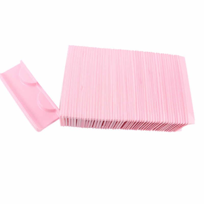 50 قطعة/المجموعة شفافة الأبيض الوردي البلاستيك الرموش علبة التعبئة والتغليف رموش زائفة علبة تخزين غطاء واحد حالة مخصص شعار 40 #726