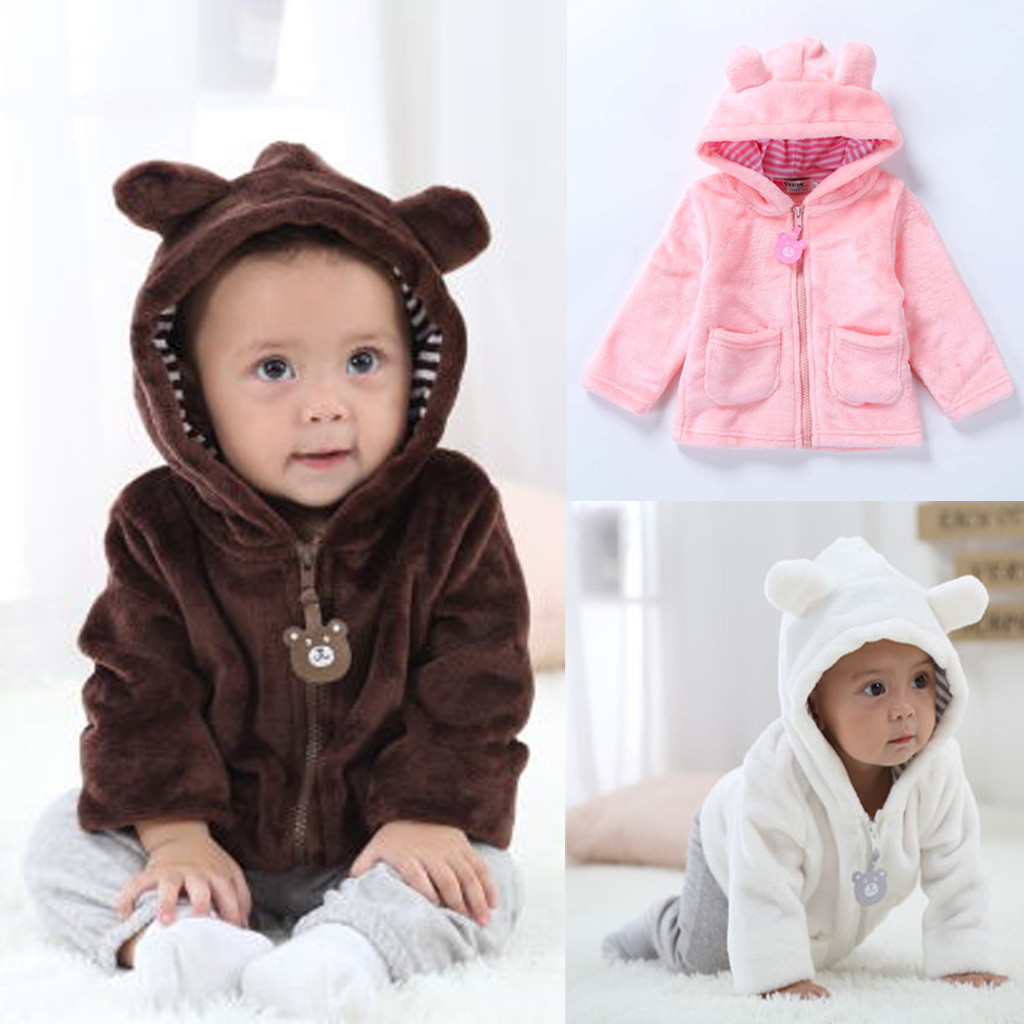 Newborn Coat Zip-Jacket Baby-Boys-Girls Top Warm Hooded Snowsuit Long-Sleeve Bear Cartoon