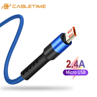 CABLETIME Micro USB Mobile Cable USB Cable for Samsung Xiaomi Android USB 2.4A Charge Cord Micro usb Charger Phone Cable C246
