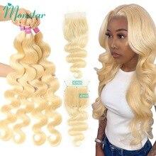 Monstar 613 Blonde Bundles Mit Verschluss Brasilianische Körper Welle Haar Bundles Mit Verschluss Remy Menschliches Haar Weben 8   36 zoll Bündel