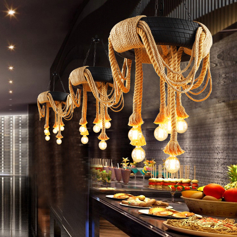 60cm Luz de neumático de coche Retro Industrial Loft LED luz colgante creativo de cuerda de cáñamo de hierro colgante lámpara de iluminación para restaurante bar - 2