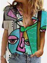 Fashion Geometry 3D Print Summer Shirt Women Lapel Short Sleeve Button Lady Office Shirt Female Streetwear Plus Size Blouses 3XL