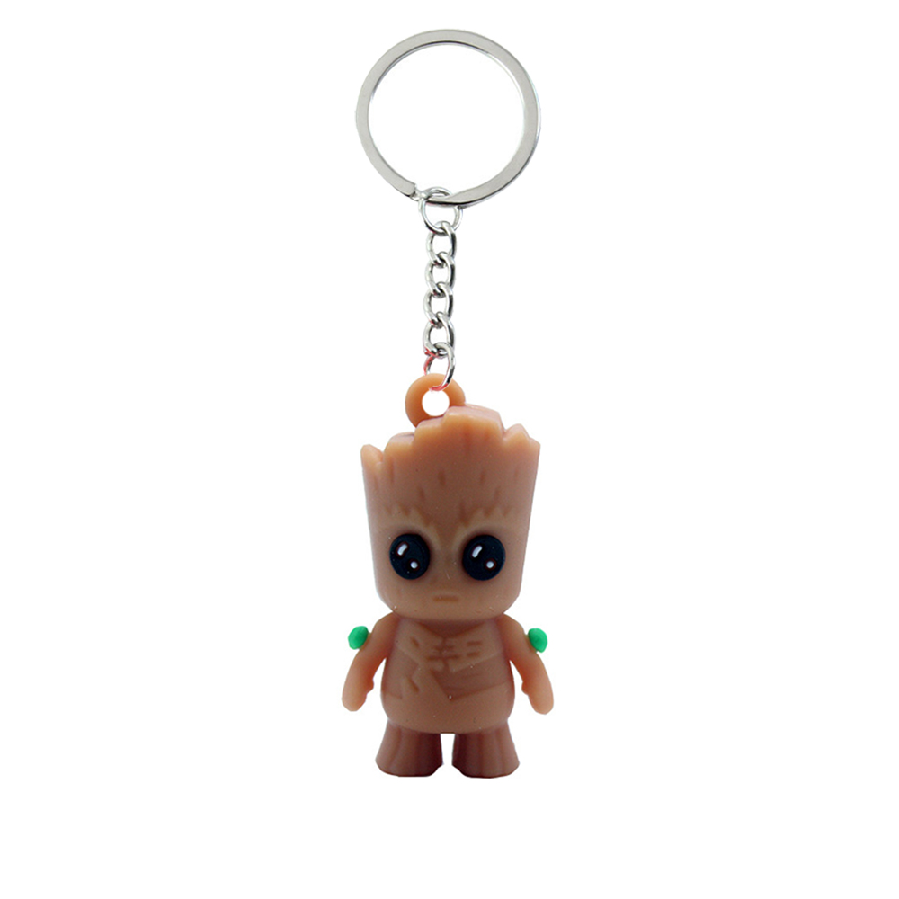 Baby Groot Figures Toy Key Chain Home Ornament Cute Model Toy For Kid Cartoon Tree Man Keychain Car Hanging Decor Keyring