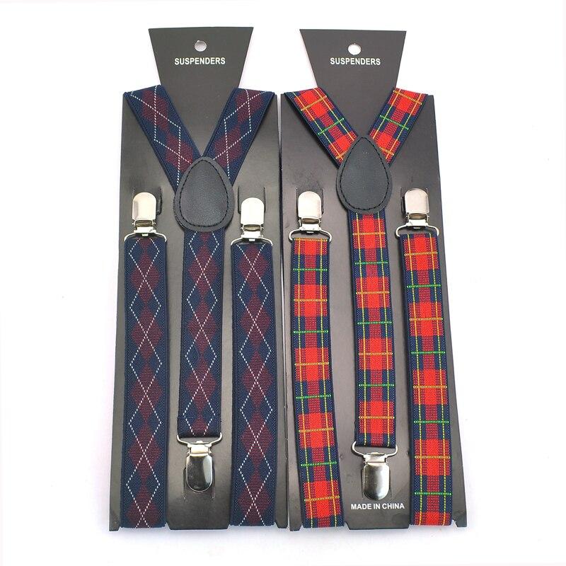 Men Women Unisex Clip-on Suspenders Elastic Slim Suspender 2.5cm Wide Fashion Embroidery Plaid Design Braces Strap Free Shipping