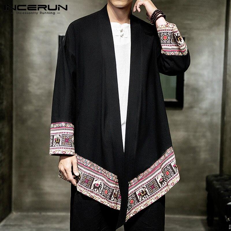 INCERUN Men Outerwear Ethnic Style Print Long Sleeve Cardigan 2020 Kimono Retro Casual Men Trench Coats Streetwear Jackets S-5XL