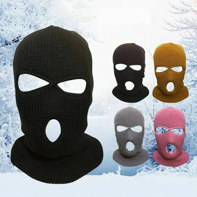 2 Hole/3 Hole Unisex Men Women Outdoor Travel Motorcycle Riding Knit Ski Mask Balaclava Full Face Head Mask Pink Black