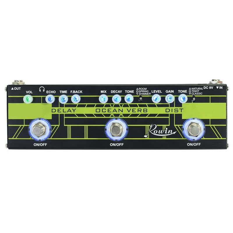 Rowin DAP-1 Chitarra Multi Effects Pedal 3In1 Ritardo + Ocean Verbo + Distorsione True Bypass