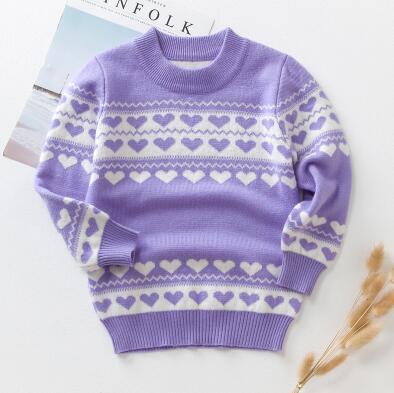 2019 New Autumn And Winter Girls Base Knit Sweater Sets  Children  Plus Velvet Thick Bnn25