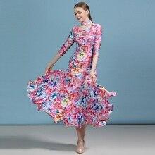 Barato vestido de baile dança latina valsa vestido feminino espanhol flamenco trajes de dança moderna tango traje foxtrot vestido