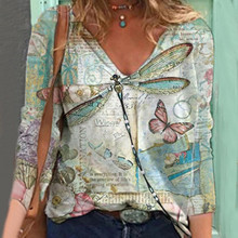 Shirt Blouses Women Casual Pullover V-Neck Long-Sleeve Printed Loose Butterfly Butterfly