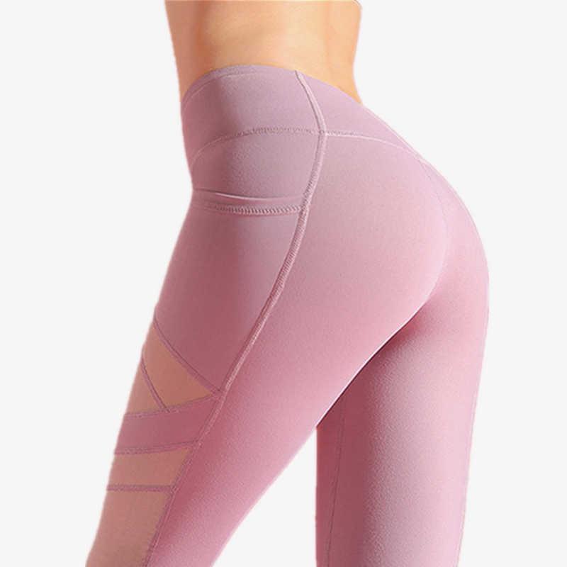 بنطال يوجا شبكي عالي الارتفاع من Oyoo مع جيوب مطاطية جذابة للجري والجري بنطلون رياضي أسود للياقة البدنية للنساء