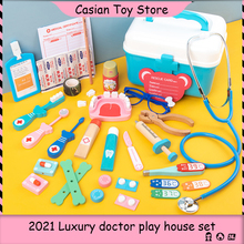 Children Doctor Toys Set Medicine Nurse Dentist hospital Pretend Play Role-play Box Wooden Kit Games for Girls Red Cloth Bag