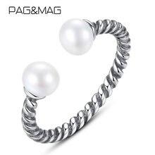 Pag & mag Новое винтажное Открытое кольцо из прозрачного жемчуга