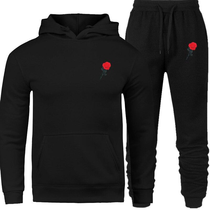 2019 New Brand Sportswear Men's Warm Hoodied Suit Wool Heavy Hoodie + Pants Sportswear Casual Sweatshirt Sportswear