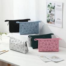Cosmetic-Bag Portable Travel Multifunction Waterproof PU Rhombic Square High-Capacity