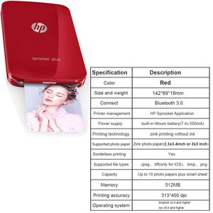 Image 4 - HP Sprocket  plus Portable Photo Printer for 5*7.6cm (2x3 inch) Sticky Backed Zink Photo Paper Easy To Print Social Media Photos