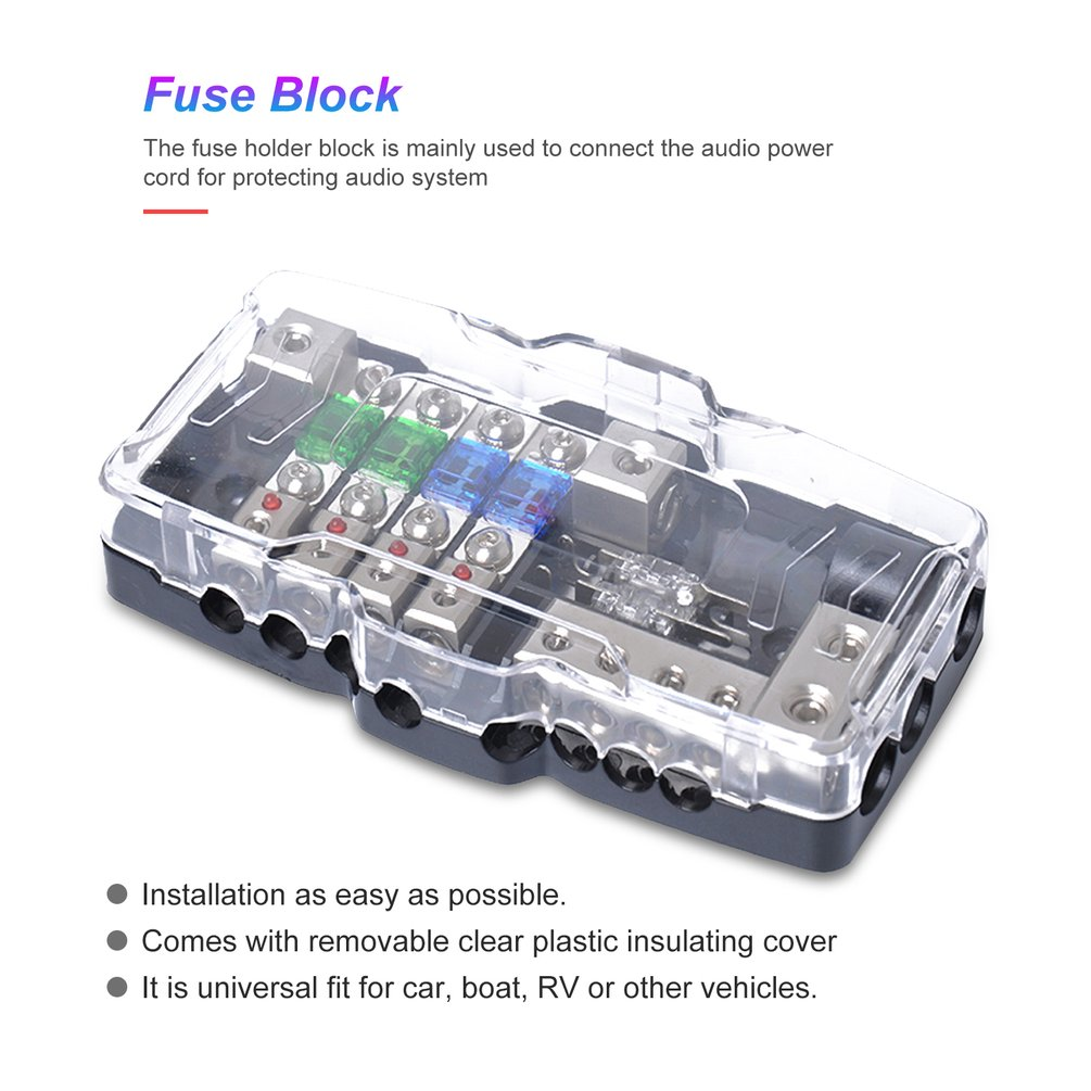 250A Fuse Holder 0//2//4 Gauge In-Line Square ANL Fuse Block Electrical Protection