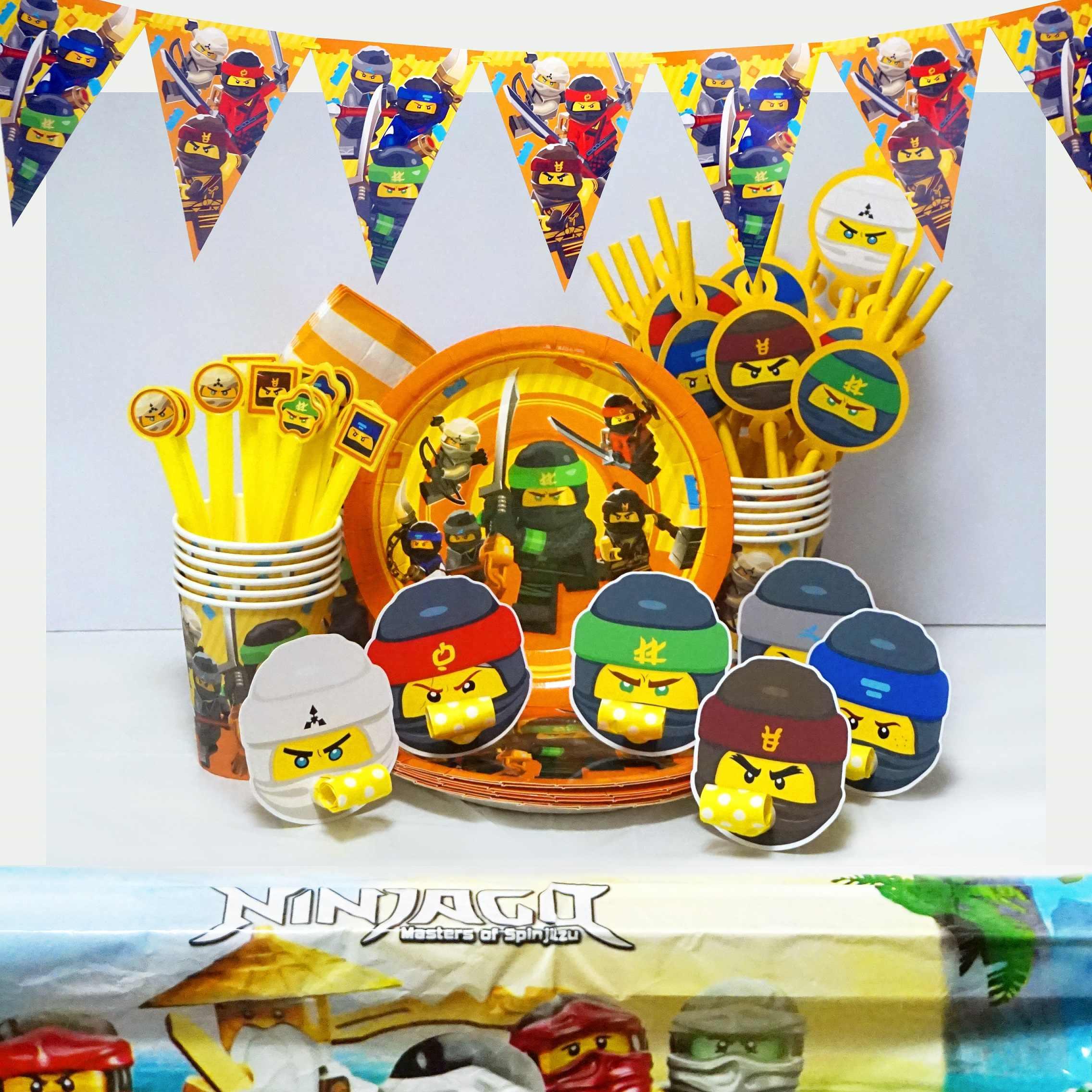 Legoing ninjaguing حفلة عيد ميلاد لوازم الطاولة/المائدة قابل للتصرف ملثمين النينجا ورقة القش سوبر بطل توريد موضوع الحسنات للأطفال
