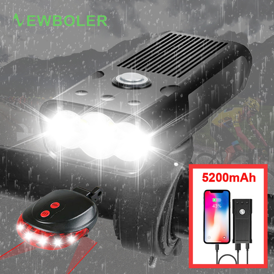 2200Lums Bike Light Set With Laser Rear Taillight USB Rechargeable Flashlight For Bicycle L2/T6 5200mAh Waterproof Led Headlight|Bicycle Light| |  - title=