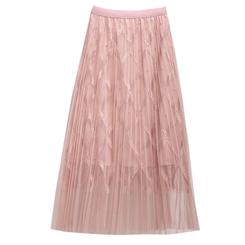 Zoki Fashion Mesh Women Long Skirt Elegant Spring Summer A Line Pearl High Waist Korean Female Party Tulle Midi Pleated Skirt 10