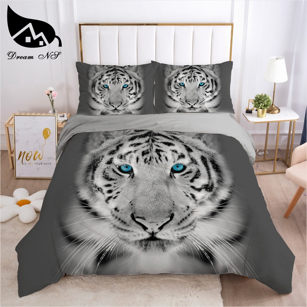 Dream NS Hand Painted Ink Painting Large Cat White Tiger roupa de cama Bedding Home Textiles Set Queen Bedclothes Duvet Cover