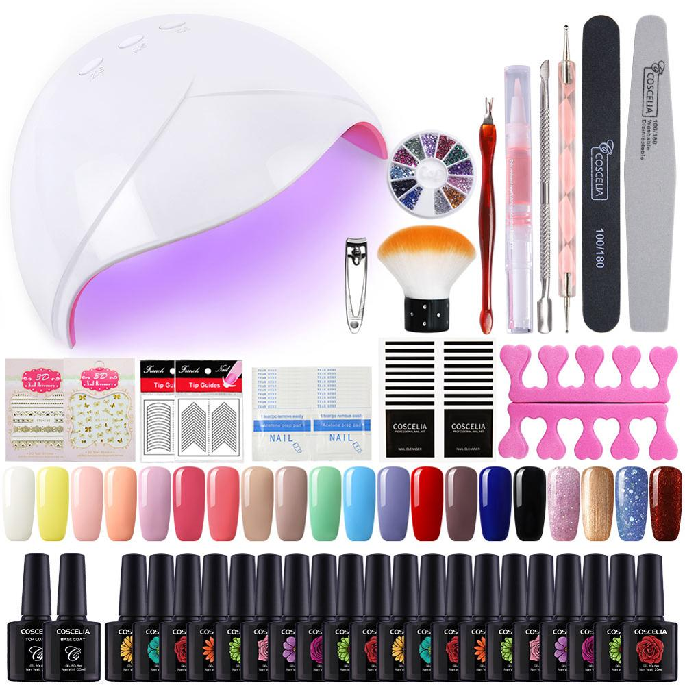 COSCELIA 20Pcs Set For Gel Varnish 10ML Gel Nail Polish Set Tools For Manicure Nail Kit All For Manicure Set For Nail Art Pusher