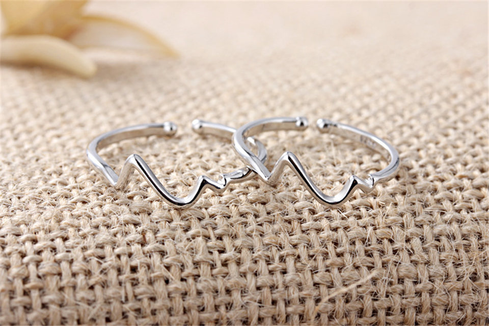 e PISSENLIT Hot Simple Adjustable Silver Ring Set Wave Ring Women Jewelry Korean Trendy Wedding Rings For Women Accessories Gifts