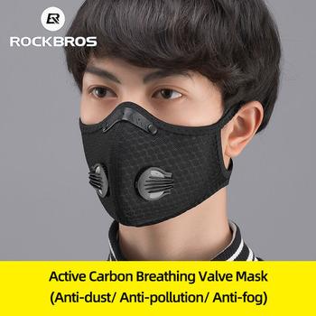 ROCKBROS maska kolarska na twarz maska przeciwpyłowa z filtrem rower aktywny węgiel oddychająca pyłoszczelna sportowa maska ochronna przeciw zanieczyszczeniom tanie i dobre opinie NYLON Lycra Unisex Men Women Dust-proof Windproof Free Size Cycling Hiking Camping Running