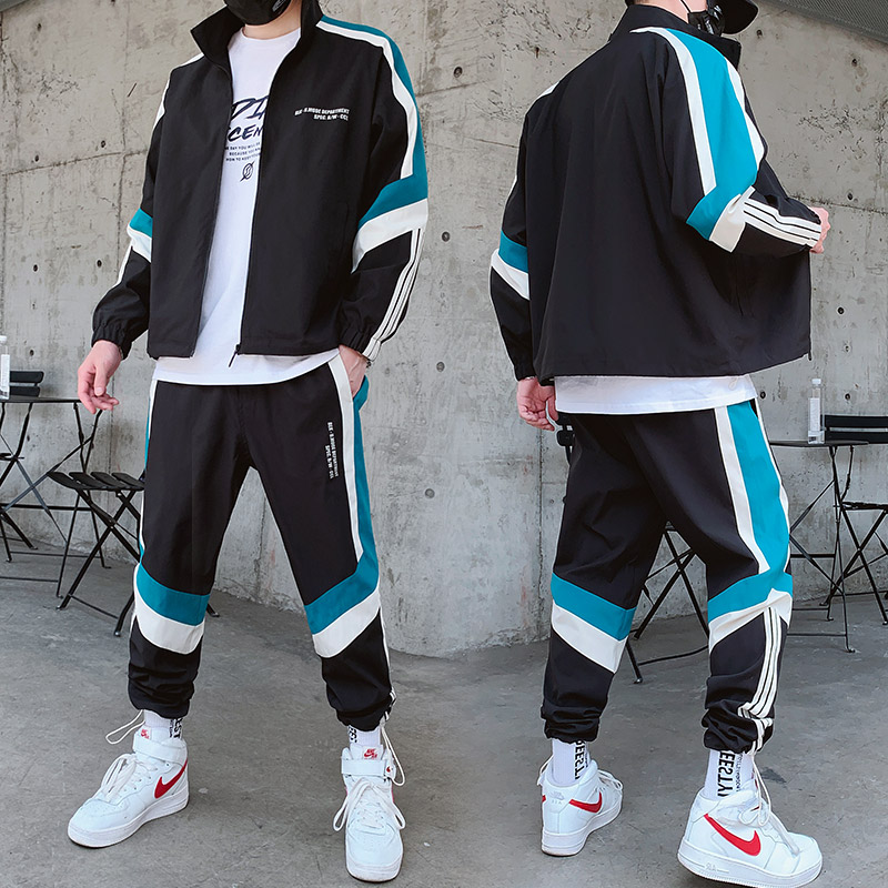 Men's Sportswear Set Fashion Printing Casual Jacket+Sports Pants 2 Piece Autumn Sets Zipper Black Casual Jogging Sportswear Sets