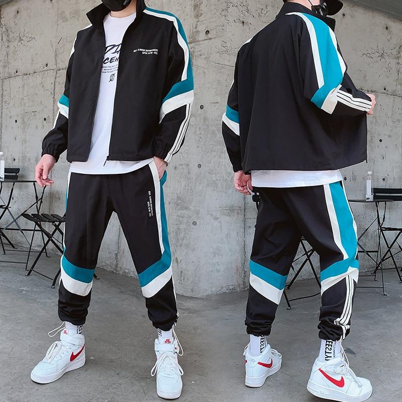 Men's Sportswear Set Fashion Printing Casual Jacket+Sports Pants 2 Piece Autumn Sets Zipper Black Casual Jogging Sportswear Sets