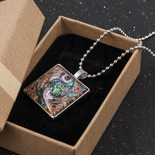 Owl Animal Cabochon Glass Silver Tile Chain Pendant Necklace Jewelry Fashion Necklaces for Women 2019 Statement