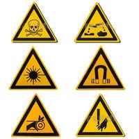 5 teile/satz Laser/Toxischen Warnung Aufkleber Zeichen Sicherheit Arbeit Sicherheit Warnung Etiketten Wasser-Beweis Öl-Proof Wand maschine Tags Aufkleber