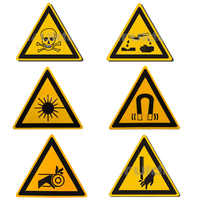 5Pcs/Set Laser/Toxic Warning Stickers Signs Security Work Safety Warning Labels Water-Proof Oil-Proof Wall Machine Tags Sticker