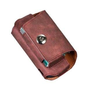 Image 2 - JINXINGCHENG funda portátil de cuero con gancho abatible para IQOS 3,0, 5 colores, funda cartuchera, Funda de cuero, doble bolsa, accesorios