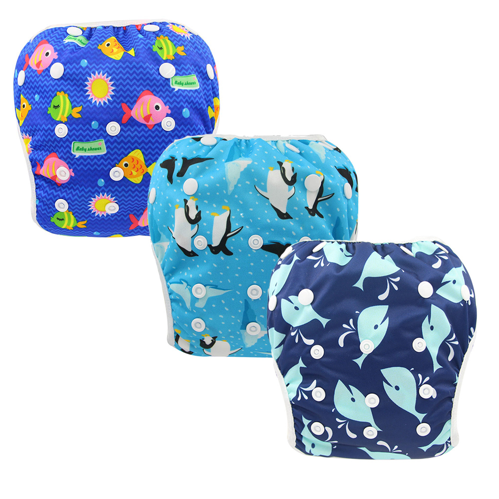 3 PACK Ohbabyka Reusable Baby Swim Diaper Eco-Friendly Cloth Diapers For Boys And Girls Swimming One Size Fits All Waterproof