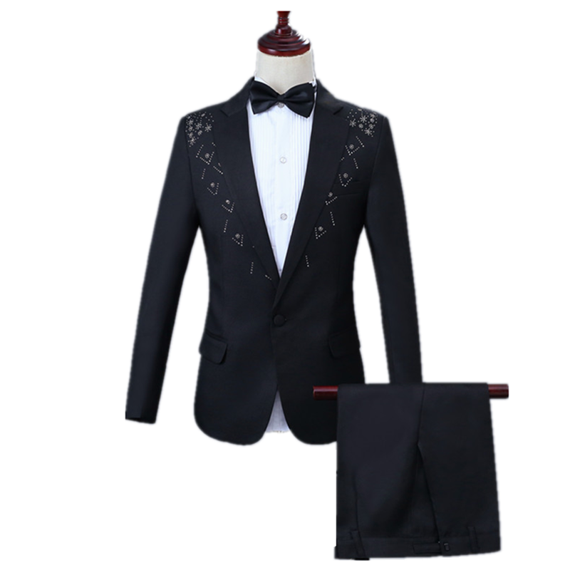 Men Casual Suit Set 2 Piece Set(Jacket Pant) Slim Flat Collar Lapel Two-edge Inlay Diamond Embellish Black Suit Party Prom Suits