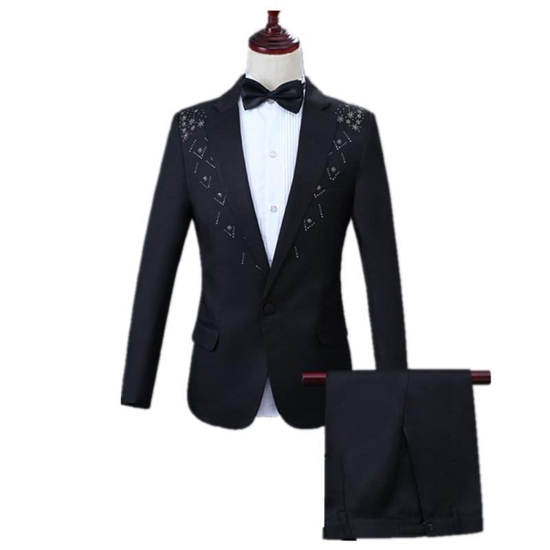 Men Casual Suit Set 2 Piece Set(Jacket Pant) Slim Flat Collar Lapel Two-edge Inlay Diamond Embellish Black Suit Party Prom Suits
