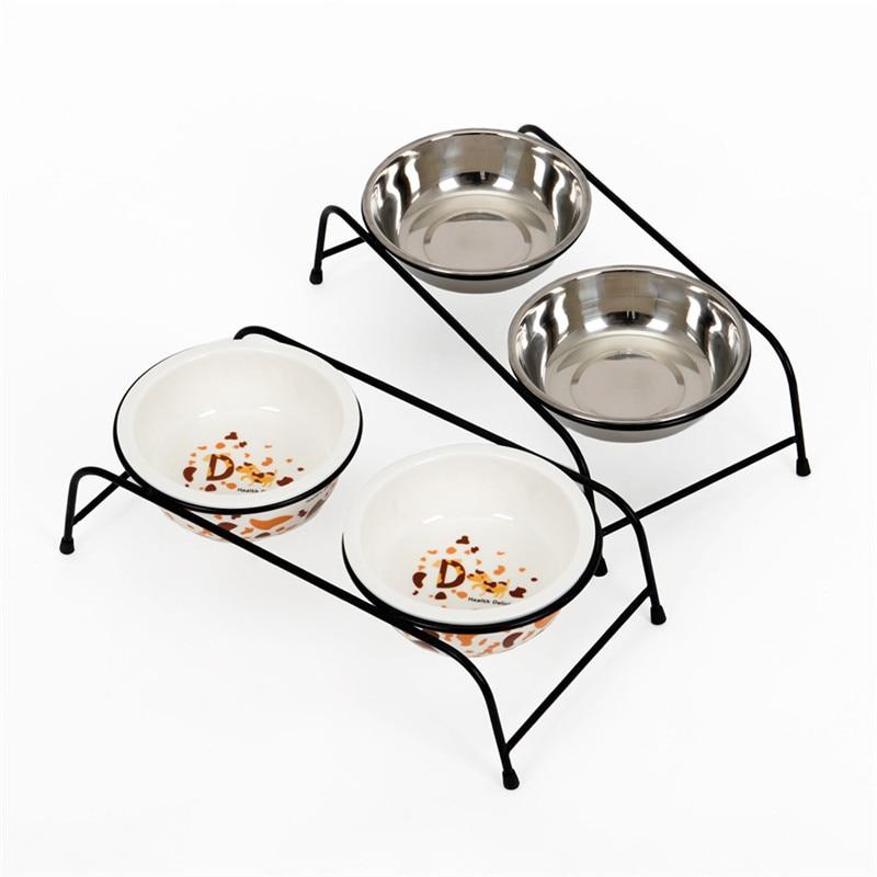 Новая модная миска Кормушка для собак, железная рама, керамика из нержавеющей стали, двойная миска для собак, высококачественные противоскользящие принадлежности для домашних животных Кормление собаки      АлиЭкспресс