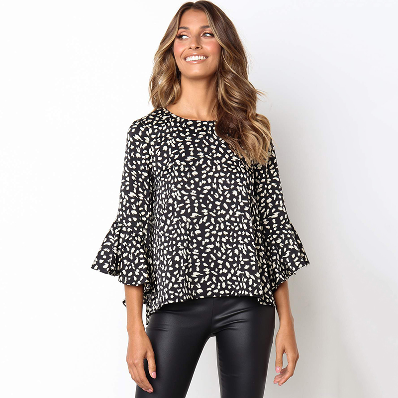 Printing Flare Sleeve Blouses And Tops Women Autumn 3/4 Sleeves Round Neck Casual Loose Slim Shirt Plus Size