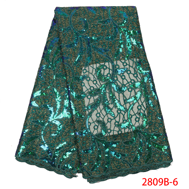 African Green Organza Sequins Lace Fabric,2019 Hot Sale Nigerian Wedding Dress,High Quality French Mesh Lace For Party KS2809B-6